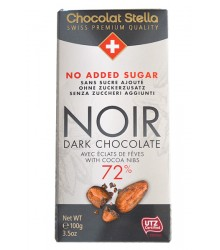 Noir 72% éclats de fèves sans sucre, 100g