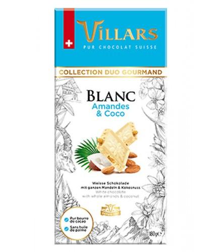 Chocolate blanco con almendras y coco rallado caramelizado