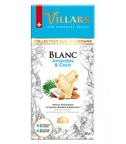 White chocolate with almonds and grated coconut